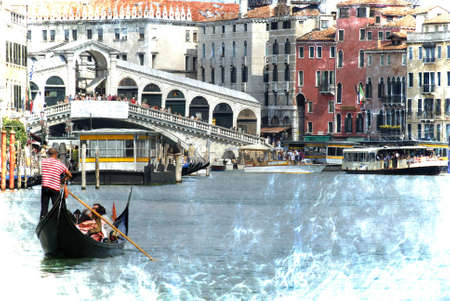 The Grand Canal with the Rialto Bridge in Venice Italy