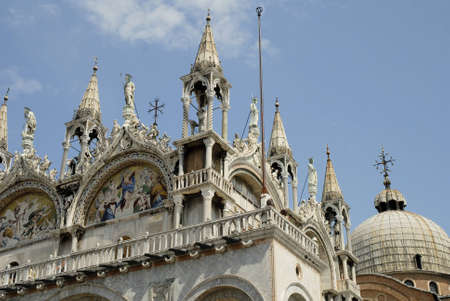 doges: The Facade of St Marks Basilica in Venice Italy