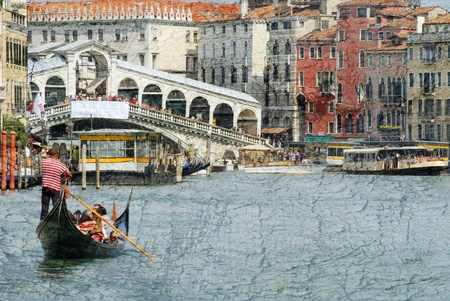 rialto bridge: The Grand Canal with the Rialto Bridge in Venice Italy