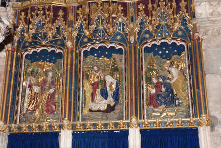 shambles: Carved and painted Nativity scenes in Cathedral in Yorkshire England