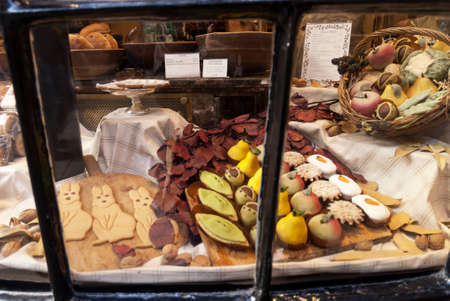 shambles: Marzipan Sweets in Window in Shambles York England