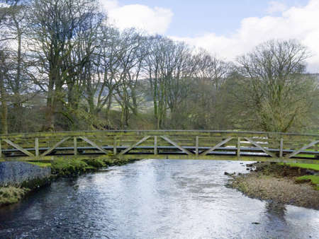 wensleydale: Bridge over River in the Yorkshire Dales England Stock Photo