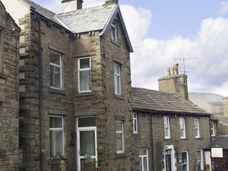 Stone Houses in the village of Hawes in Yorkshire Dales England
