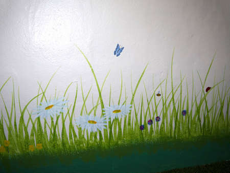 wensleydale: Painted wall in North Yorkshire England Stock Photo