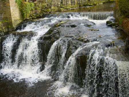 waterfalls in village of Hawes in the Yorkshire Dales England photo