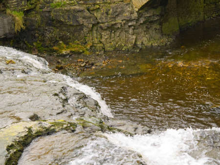 wensleydale: waterfalls in village of Hawes in the Yorkshire Dales England Stock Photo