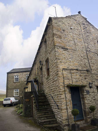 wensleydale: Stone Houses in the village of Hawes in Yorkshire Dales England Editorial