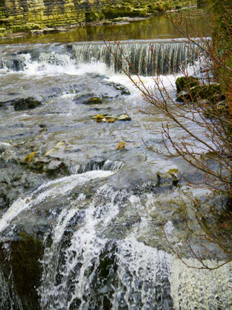 wensleydale: waterfalls in village of Hawes in the Yorkshire Dales England Editorial