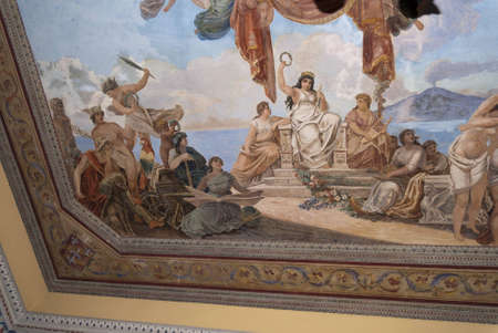 sirens: Painted ceiling in Sorrento Italy