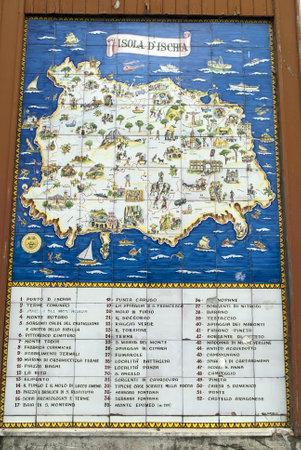 Map of the Volcanic island of Ischia in Italy