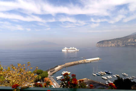 Cruise ship off Sorrento in the Bay of Naples Italy
