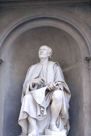 contemplates: Brunelleschi contemplates his dome on the Duomo of Florence Italy