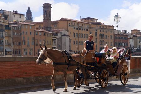 Carriage ride around the city of Florence in Tuscany  Italy