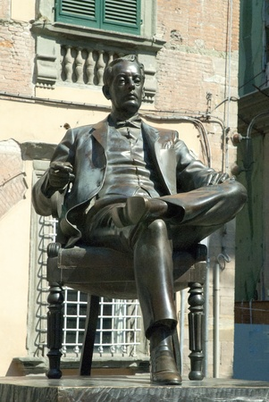 Statue of Composer Puccini in his home town of Lucca Tuscany Italy Editorial