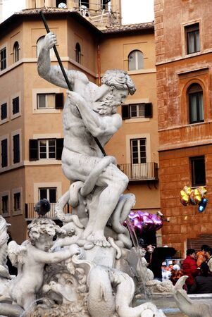 Statues on the Fountains in the Piazza Navona Rome Italy Stock Photo - 12754774