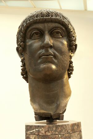 hadrian: Ancient Gigantic Bronze head of Emperor Constantine in Rome Italy