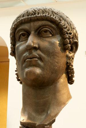 constantine: Ancient Gigantic Bronze head of Emperor Constantine in Rome Italy