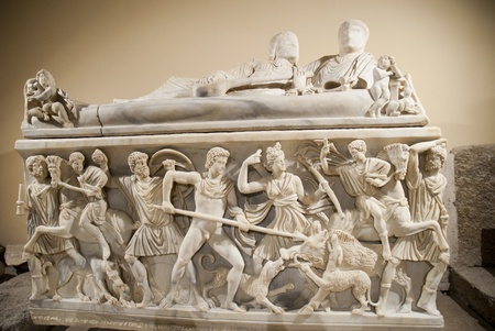 constantine: Roman Carved Marble Tomb in Rome Italy