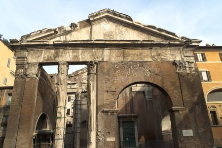 The Portico of occtavio the ancient Roman Fishmarket in Rome Italy photo