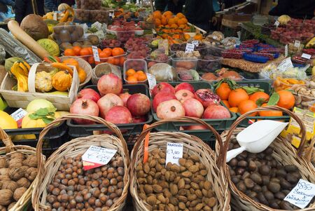 Fruit on the Market at Campo de Fiore in Rome Italy Stock Photo