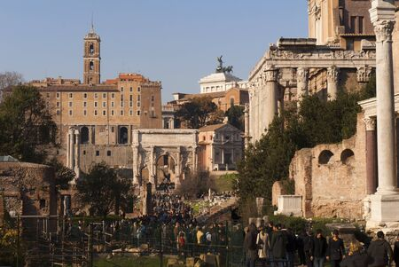 Arch of Septimus Severus in the Forum in Rome Italy