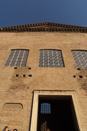 the Curia building formerly the Senate of Ancient Rome in the Forum in City of Rome Italy