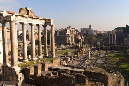 ancient rome: View over the Ancient Roman Forum in city of Rome Italy