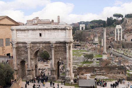 View over the Ancient Roman Forum in city of Rome Italy