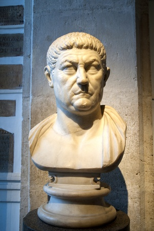 hadrian: Marble Head of Emperor Vespasian in Rome Italy