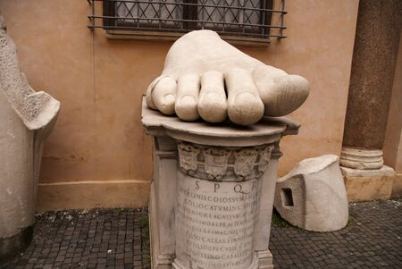 Huge Foot from Collosal Statue in Rome Italy photo