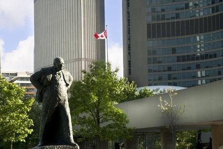 Statue of Winston Churchill in City Centre Toronto Ontario Canada photo