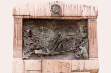Plaque to brave doctor who saved many lives in the great flood of the River Danube Budapest Hungary Reklamní fotografie