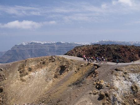 Crater of the New Volcano in the Caldera Santorini Greece