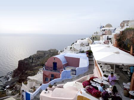 The Town of Oia on the Island of Santorini Greece photo