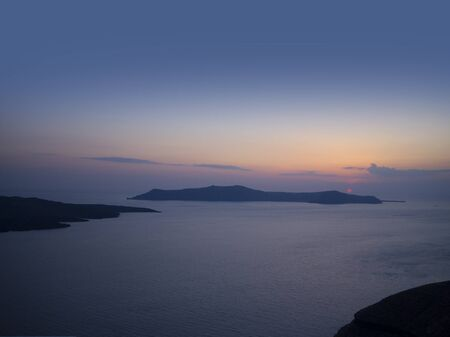 Sunset in Fira on the Island of Santorini Greece photo