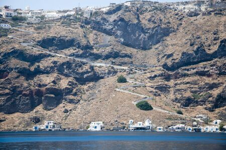 eacute: Villaggio di pescatori sulla parte Therasia dell'isola di Santorini, Cicladi, Grecia