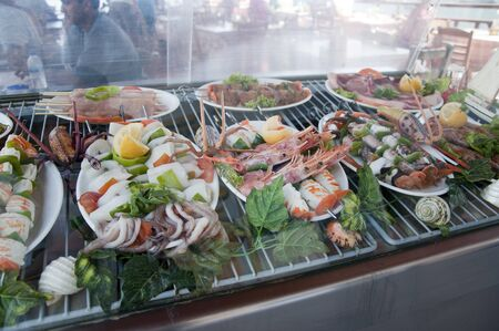 Seafood in the Fishing village on Therasia part of the island of Santorini Cyclades Greece