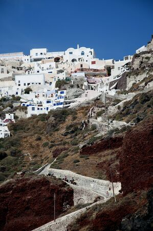 eacute: The Path up to the Town of Oia on the Island of Santorini Greece Stock Photo