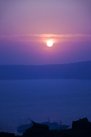Sunset over the Caldera of the Island of Santorini Greece
