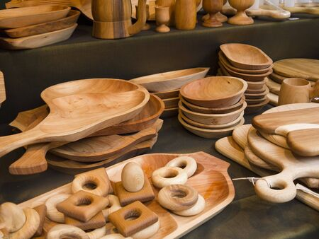 TraditionaL Wooden Items on the Market in Budapest Hungary photo