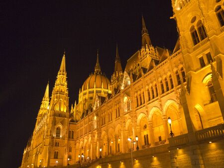 Houses of Parliament in Budapest Hungary at night