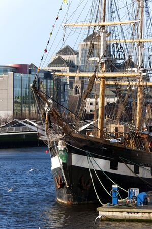 one of the Coffin Ships that took Emigrants to the USA moored in Dublin Ireland