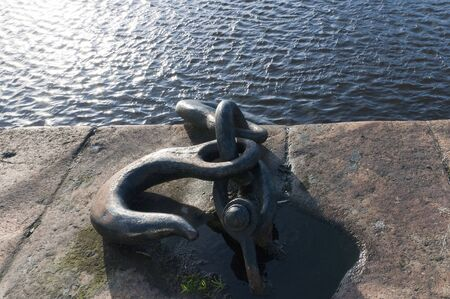 liffey: Giant Hook on the quayside in Dublin Ireland