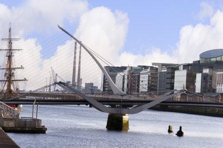 Samuel Beckett Bridge over the River Liffy in Dublin City Ireland