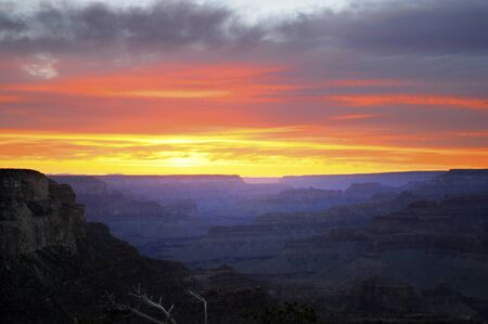 mesas: Sunset over Grand Canyon Arizona USA Stock Photo