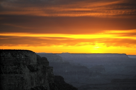 plateau point: Sunset over Grand Canyon Arizona USA Stock Photo