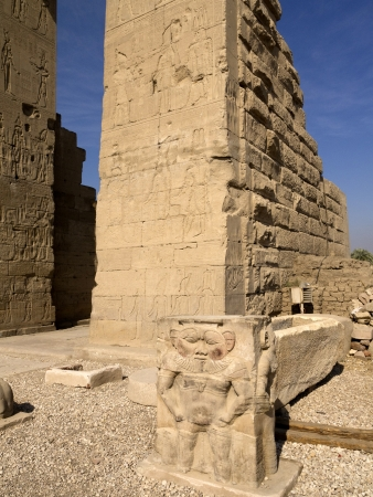 holies: The God Bes protector of women and children at the Temple at Denderah near Luxor dedicated to Hathor which was a graeco-roman site used by Queen Cleopatra, famous for its zodiac