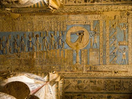 The Temple at Denderah de buurt van Luxor gewijd aan Hathor en dat was een Grieks-Romeinse site gebruikt door koningin Cleopatra, bekend om zijn dierenriem Redactioneel