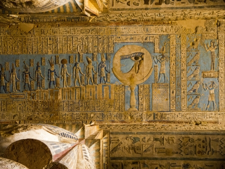 dedicated: The Temple at Denderah near Luxor dedicated to Hathor which was a graeco-roman site used by Queen Cleopatra, famous for its zodiac