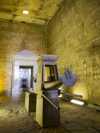 holies: Funerary Boat in the holy of holies at the Temple at Edfu in Egypt which is dedicated to the God Horus